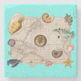 Marine Treasures Beige Vintage Map Teal Stone Coaster
