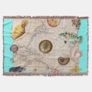 Marine Treasures Beige Vintage Map Teal Throw Blanket