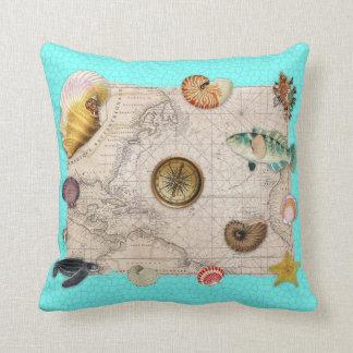 Marine Treasures Beige Vintage Map Teal Throw Pillow