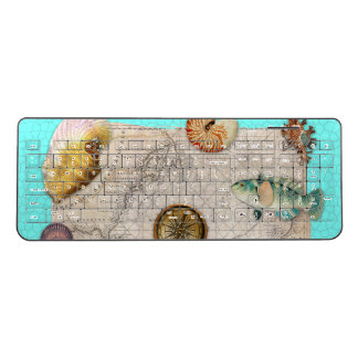 Marine Treasures Beige Vintage Map Teal Wireless Keyboard