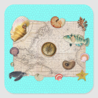Marine Treasures Vintage Map Teal Square Sticker