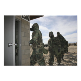 Marines and Sailors file into the gas chamber Photograph