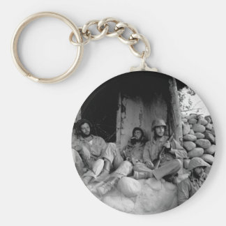 Marines of the 1st Marine Division relax_War Image Basic Round Button Keychain