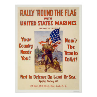 Marines - Rally 'round the flag Poster