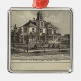 Marion and Valley Farm, Kansas Silver-Colored Square Ornament