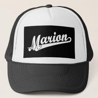 Marion script logo in white trucker hat