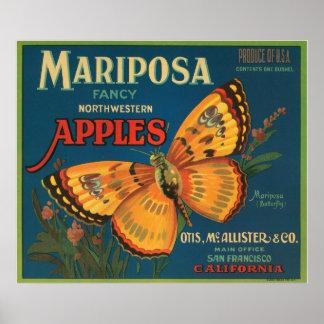 Mariposa Fancy Northwestern Apples Crate Label Poster