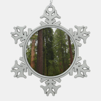 Mariposa Grove in Yosemite National Park Snowflake Pewter Christmas Ornament