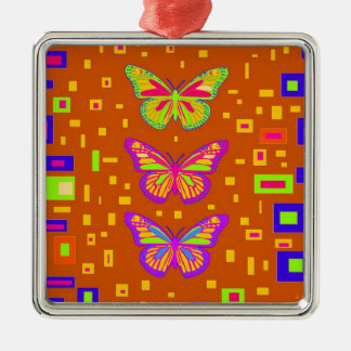 Mariposa Southwest Orage Gifts by Sharles Silver-Colored Square Ornament