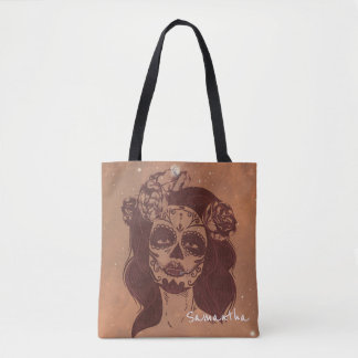 Mariposa Sugar Skull Woman Mask Tote Bag