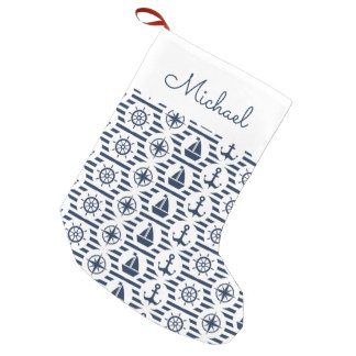 Maritime In Blue Pattern | Add Your Name Small Christmas Stocking