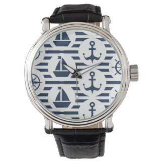 Maritime In Blue Pattern Wrist Watches