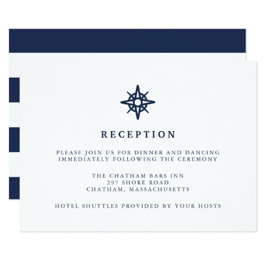 Maritime | Nautical Compass Wedding Reception Card
