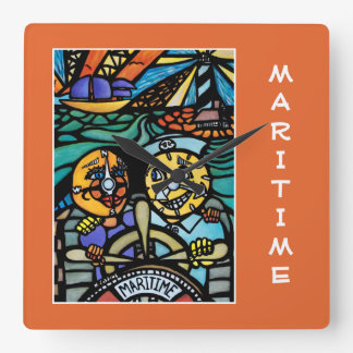 Maritime On Orange  - Time Pieces Square Wall Clock