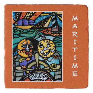 Maritime On Orange Time Pieces Trivet