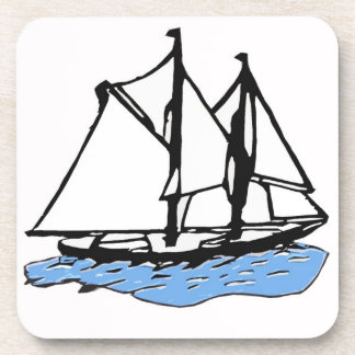 Maritime Sailing Ship, Yacht, Boat on Blue Sea Beverage Coasters