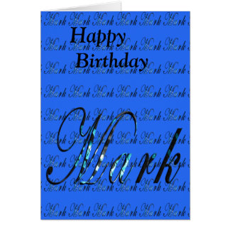 Mark, Name, Logo, Birthday Greeting Card. Card