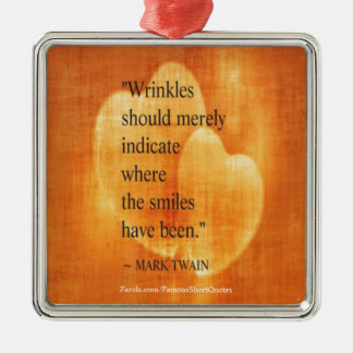 Mark Twain Birthday Quote With Hearts Metal Ornament