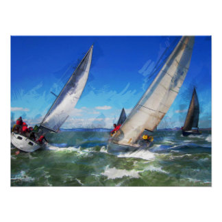 Marker Sketch of Racing Sailboats in Rough Seas Poster