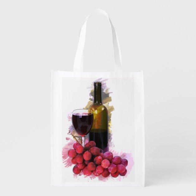 Marker Sketch Of Wine Glass Bottle Amp Grapes Market Tote