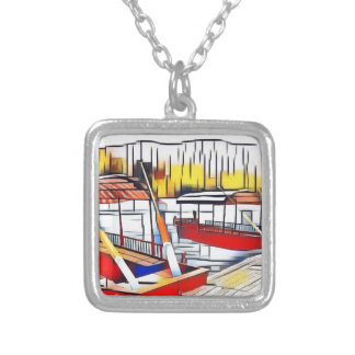 Market Boats Silver Plated Necklace
