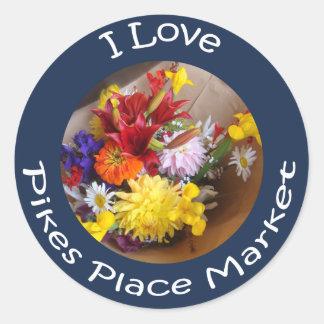 Market Flowers Classic Round Sticker