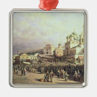 Market in Nishny, Novgorod, 1872 Silver-Colored Square Ornament