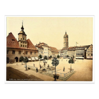 Market place and Bismarck's Fountain, Jena, Thurin Postcard