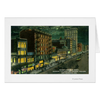 Market St at Night, Pantages, Empress Theatre Card