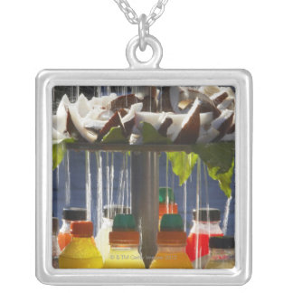 Market stall in Florence, Italy Silver Plated Necklace