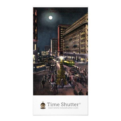 Market Street and Lotta's Fountain at Night Custom Photo Card