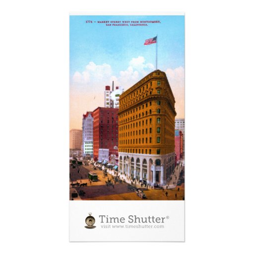 Market Street West from Montgomery, San Francisco, Customized Photo Card