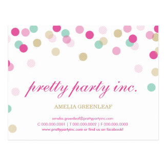 MARKETING cute confetti spots gold mint pink Postcard