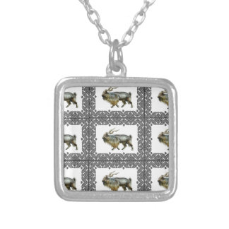 Markhor frames silver plated necklace