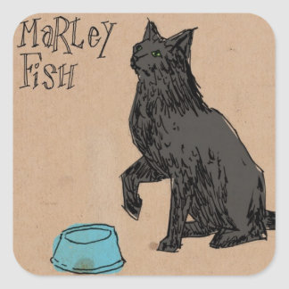 Marley Fish Supper Time Square Sticker