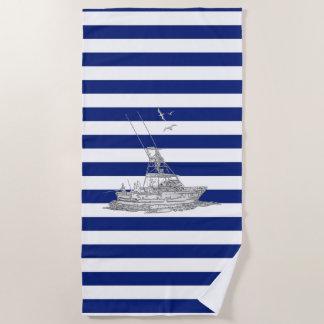 Marlin Fishing Chrome on Nautical Stripes Decor Beach Towel