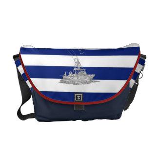 Marlin Fishing Chrome on Nautical Stripes Messenger Bags