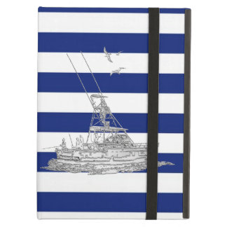 Marlin Fishing Silver on Nautical Stripes Cover For iPad Air