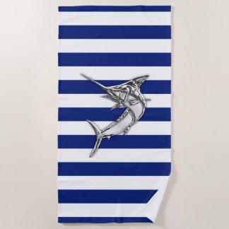 Marlin Fishing Silver on Nautical Stripes Decor Beach Towel