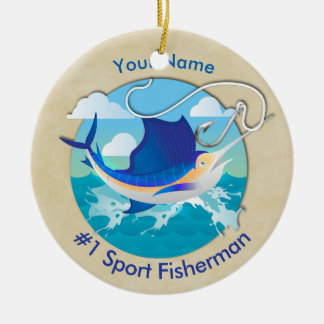 Marlin on the Line Sport Fishing CIRCLE Ceramic Ornament