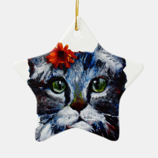 Marmalade, the cute cat who wears a flower. ceramic star ornament