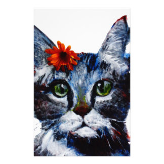 Marmalade, the cute cat who wears a flower. personalized stationery