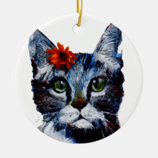 Marmalade, the cute cat who wears a flower. round ceramic ornament