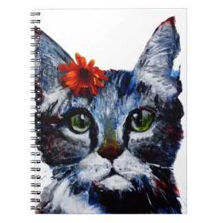 Marmalade, the cute cat who wears a flower. spiral notebook
