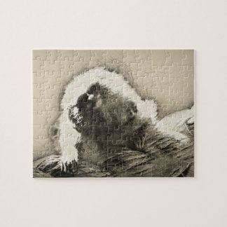 Marmoset Fine Art Sketch of Tiny Monkey Jigsaw Puzzle