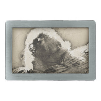 Marmoset Fine Art Sketch of Tiny Monkey Rectangular Belt Buckle