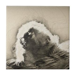 Marmoset Fine Art Sketch of Tiny Monkey Tile