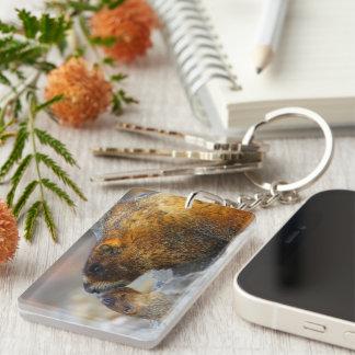 marmot and baby Double-Sided rectangular acrylic keychain