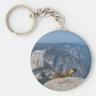 Marmot Overlooking Half Dome from Clouds Rest - Yo Basic Round Button Keychain