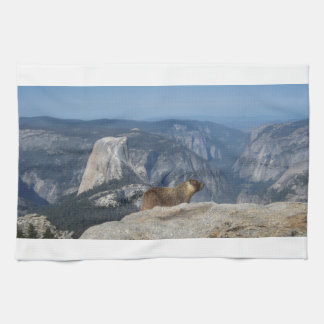 Marmot Overlooking Half Dome from Clouds Rest - Yo Towel